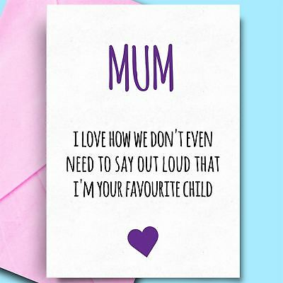 MUM ON MOTHERS DAY /& BIRTHDAY CARD NAN STEP MUMMY FUNNY RUDE BANTER ADULT// BI