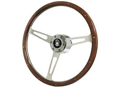 1974.5-1979 VW S6 Black Leather Steering Wheel Brushed KitCastle Emblem