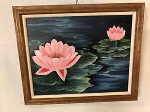 Painting-Oil-On-Canvas-Water-lilies-Signed-amp-framed20-034-x24-034-C7pix4detail-MAKE-OFFER