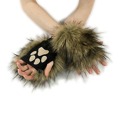 GY Furry Hand Paw Gloves Fursuit Costume Gray Black Fox 3180 PAWSTAR Pawmitts