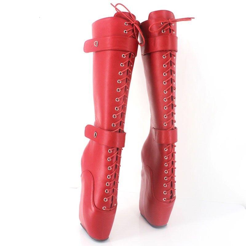 Sexy Para Mujer 18 cm Extreme Tacón Alto Cuñas Con Babuchas Cordones botas Babuchas Con Bloqueable Ballet 574fad