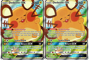 Pokemon-Card-Lot-x2-Dedenne-GX-195a-214-Unbroken-Bond-Full-Art-Alternate