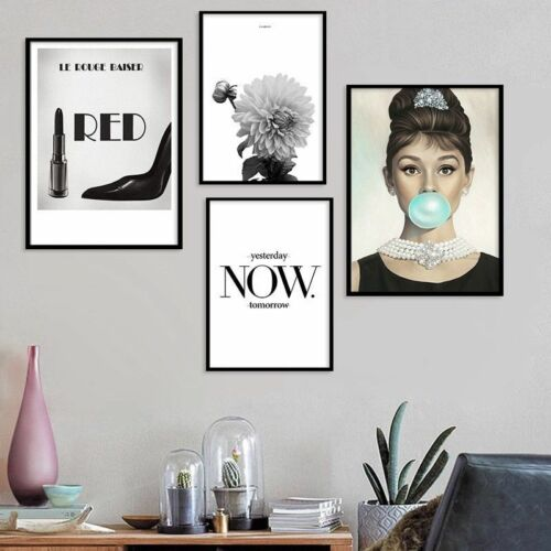 Modern Fashion Quote Black White Wall Art Poster Canvas Painting Home Decor