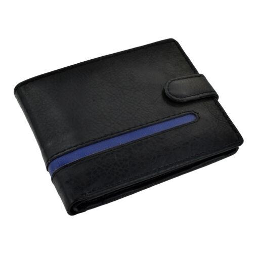 Noir Portefeuille Cuir Bleu Motif à rayures XLW003