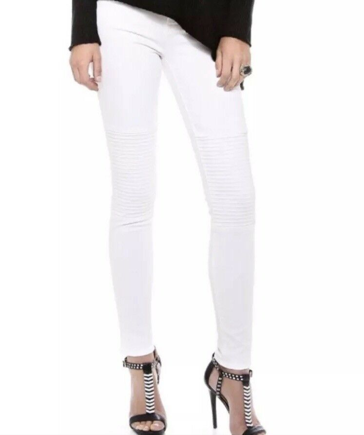 J Brand Womens Nicola Moto Skinny Jeans In white White Size 24