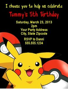 Image Is Loading Pokemon Pikachu Birthday Party Invitations Personalized Custom