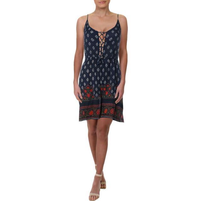 Aqua Womens Crinkled Printed Lace-Up Romper BHFO 7460