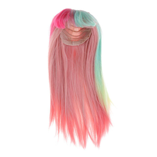 Cute Long Straight Wig Clothes Accessory for 1//3 BJD Blythe Doll Pink Green