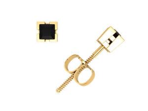 1-4Ct-Princess-Cut-Black-Diamond-Basket-Stud-Earrings-14k-Yellow-Gold-V-Prong-A
