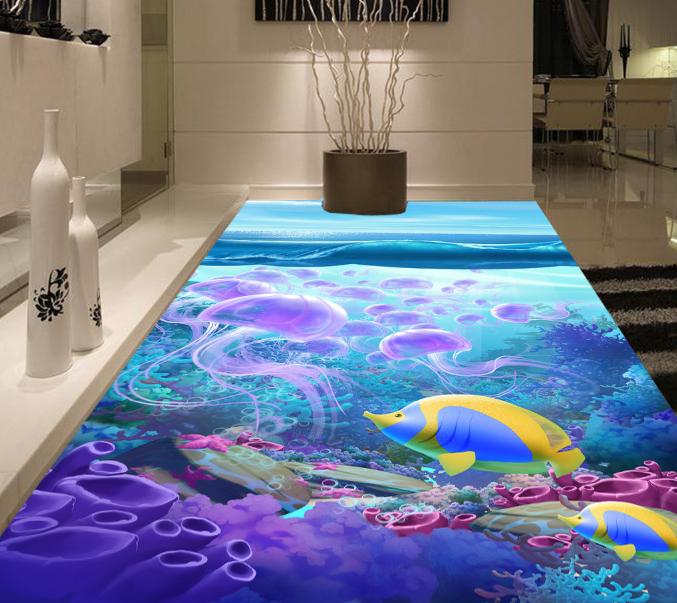 3D Seabed Jellyfish 19 Floor WallPaper Murals Wall Print Decal 5D AJ WALLPAPER