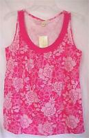 Ladies Size Small S Tank Top Pink & White Flowers Carolyn Taylor Summer Tags