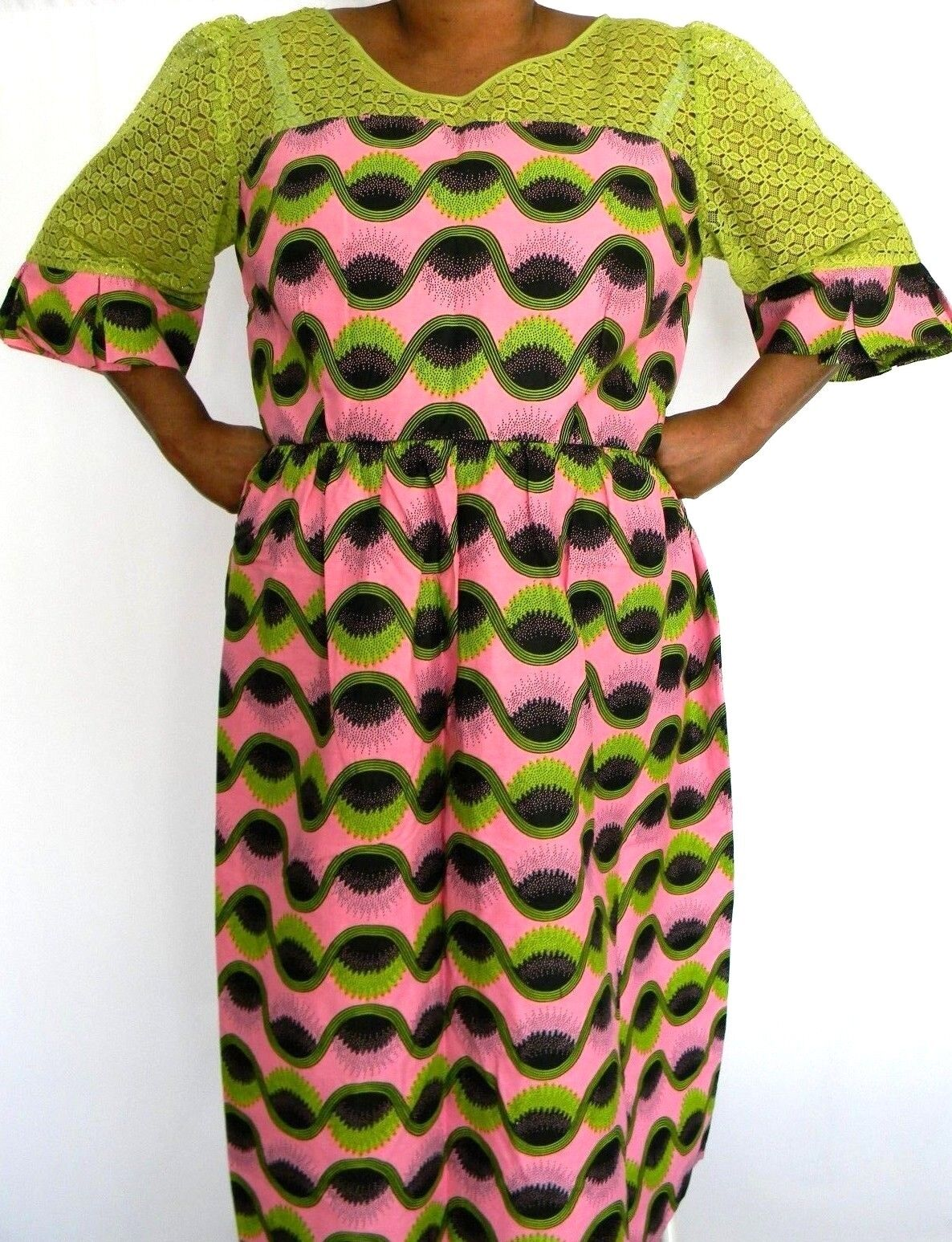 African Wax Größe XL Fit&Flare Dress damen Lace Top Bell Sleeve Zip Back Ankara