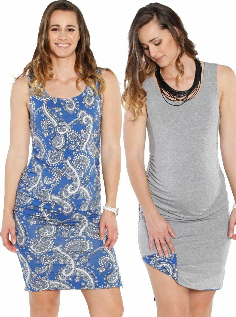 Maternity Reversible Dress in Grey & bluee Paisley Print