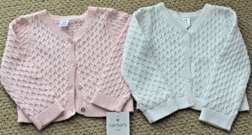 Carter/'s Shrug Sweater Cardigan 3 9 M Pink Ivory Cable Knit NWT Girl/'s