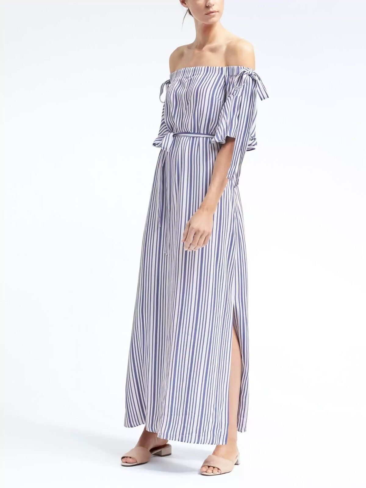 Banana Republic Off-the-Shoulder Maxi Dress,Blau Stripe Größe S      E211