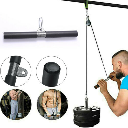 Fitness Straight Bar Cable Machine Attachment Pull Down Home Gym Tool