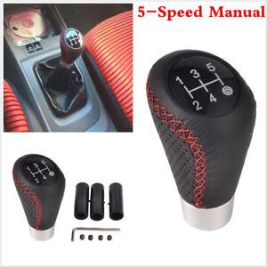 Aluminum Car Manual Leather Shifter Shift Knob Cover Stitch Shifter Lever Black