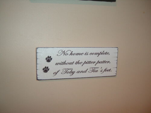 shabby vintage chic plaque no home complete dog feet sign plaque personalised