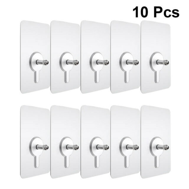10Pcs Nail Wall Hook Screw Strong Adhesive Non-Trace No Drilling No-Punch n
