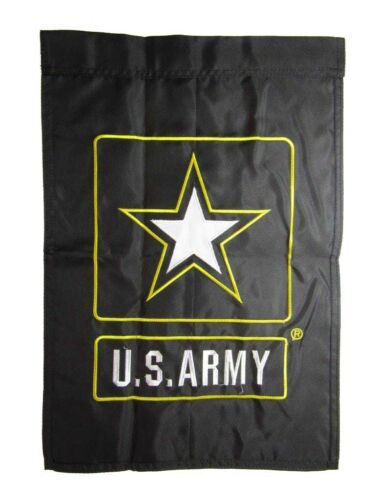 Army Star Black Double Sided Garden Flag 210D Sleeved 12x18 Embroidered U.S