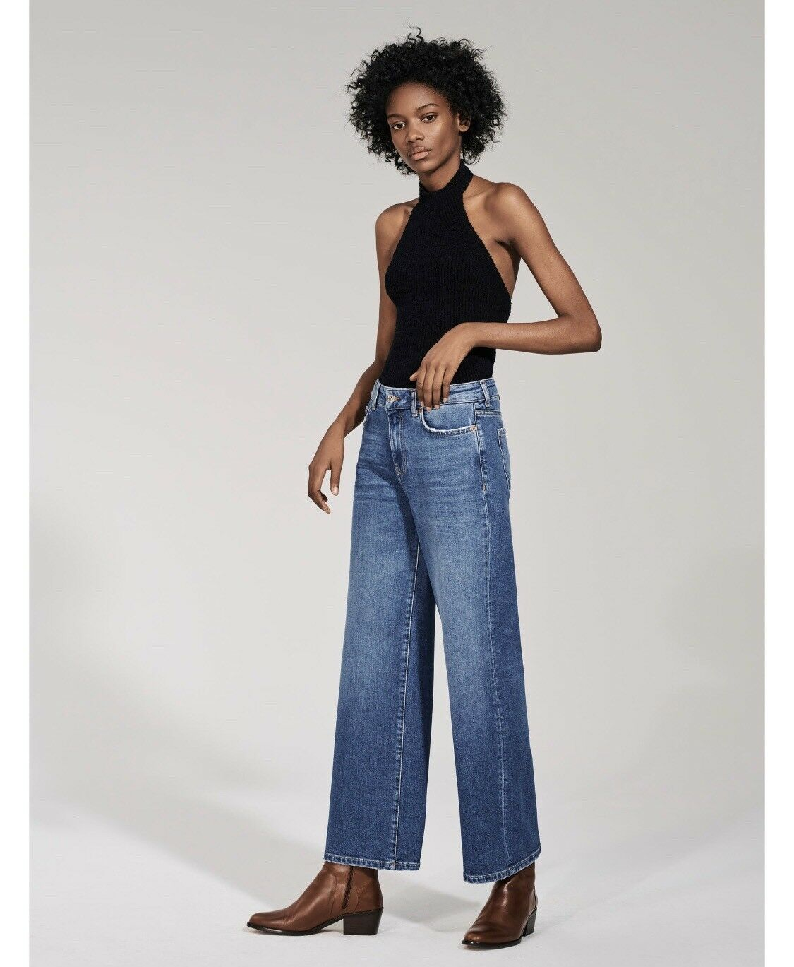 ZARA THE NEW STRAIGHT CULOTTE MALIBU blueE Sold Out Online