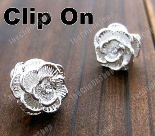 CLIP ON rhinestone ROSE EARRINGS vintage style CHUNKY STUDS crystal silver pl