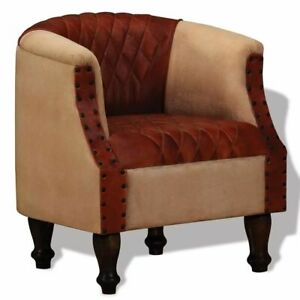 Sensational Details About Vidaxl Armchair Real Leather And Fabric Brown And Beige Relax Tub Chair Seat Squirreltailoven Fun Painted Chair Ideas Images Squirreltailovenorg