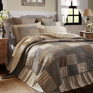 New-FARMHOUSE-SAWYER-MILL-Gray-Ticking-Burlap-Patchwork-Quilt-Bedding-YOU-CHOOSE