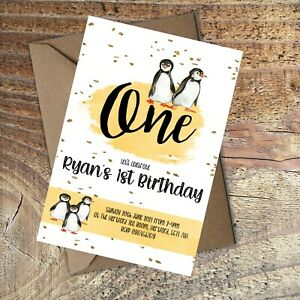 BIRTHDAY-INVITATIONS-First-Birthday-Cute-Penguins-Personalised-Any-age-PK-10