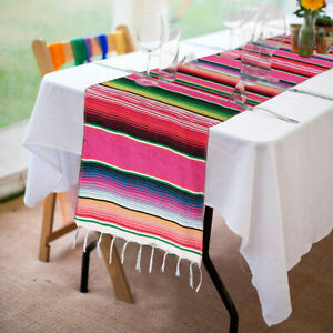 Mexican-Serape-Table-Runner-14-x-84-034-Tablecloth-Mexican-Party-Wedding-Decoration