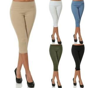 LADIES CROPPED TROUSERS WOMENS 3//4 THREE QUARTER ELASTICATED CAPRI CROP PANTS