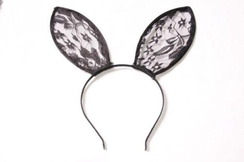 S576 Beautiful Costume Ladies Thin Black Metal Headband with Large Laced Ears