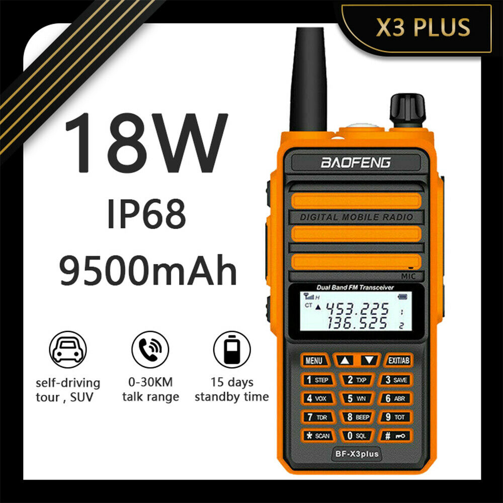 car-great BAOFENG 18W X3 PLUS LONG DISTANCE TRI-BAND HAM RADIO HIGH POWER WALKIE-TALKIE US
