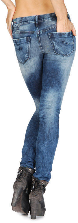 335 Authentic DIESEL Women's Livy 008QY Super Slim Straight Distress Rip Jeans