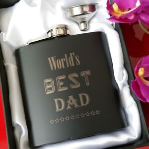 Details About Worlds Best Dad Engraved 6oz Hip Flask Gift 30th 40th 50th Birthday Box