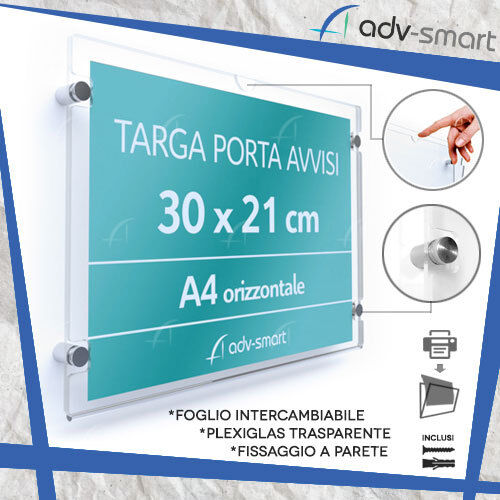 Targa Porta Avvisi da parete A4 orizzontale Tasca Messaggio Volantino Depliant