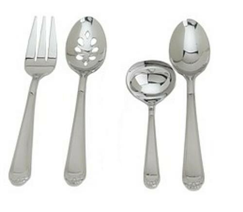 Ginkgo 079914-35030-3 Bonnie- 18-10 Stainless- Mirror Finish 4PC Hostess Set