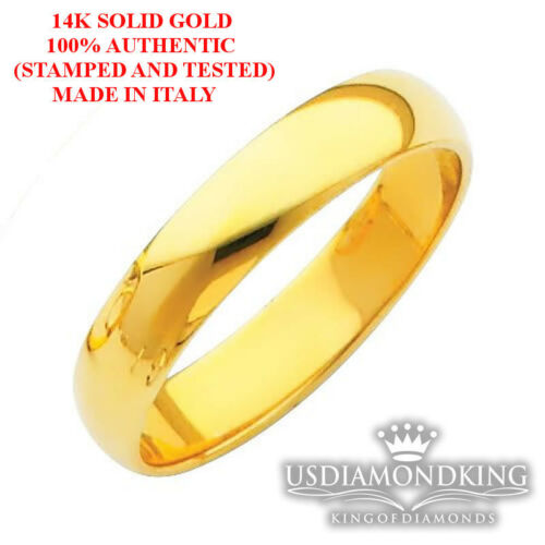 14K SOLID YELLOW GOLD MENS WOMENS PLAIN FLAT WEDDING RING BAND 3MM-5MM SIZE 7-12