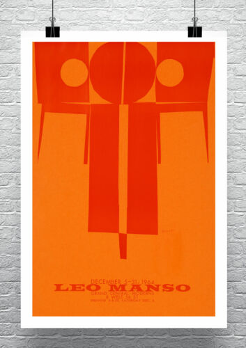 Leo Manso 1964 Mid Century Modern Art Poster Rolled Canvas Giclee Print 24x34 in