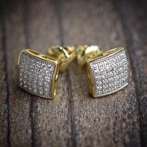 Mens-amp-Ladies-18K-Gold-Simulated-Lab-Diamond-KITE-Screw-Back-Stud-Earrings-8mm