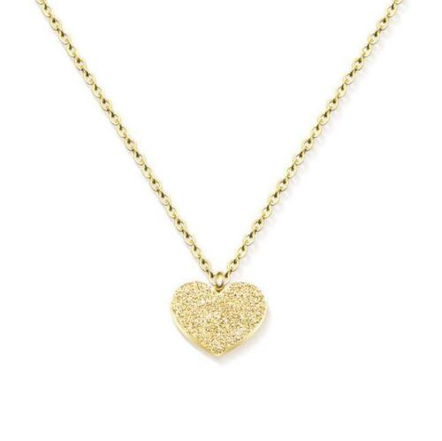 Frosted Mini Heart Pendant Necklace Stainless Steel Charm Chain For Women Girls