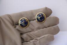 14K Yellow Gold Lapis Lazuli Globe Cufflinks 9.59 grams