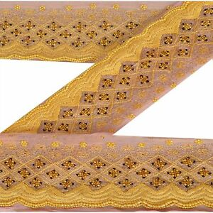 Crafts Vintage Sari Border Antique Hand Beaded Indian Trim Sewing Orange Lace Linens & Textiles (pre-1930)