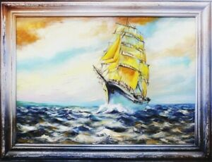 Painting-Sea-Handmade-Oil-Painting-Picture-Oil-Ships-Frame-Pictures-00095