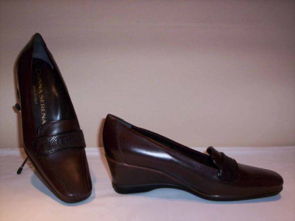 Classic shoes comfortable loafers women Serena Marlene wedge leather brown 40