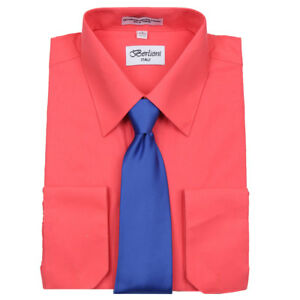 new selection hot-selling cheap fine craftsmanship Details about Men's Berlioni Business French Cuff Tie Set Coral Dress Shirt  And Royal Blue Tie