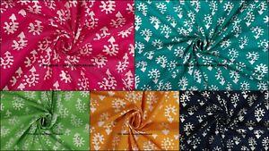 Handmade-Block-Organic-Print-craft-Batik-Dressmaking-100-Cotton-Fabric-5-Yard