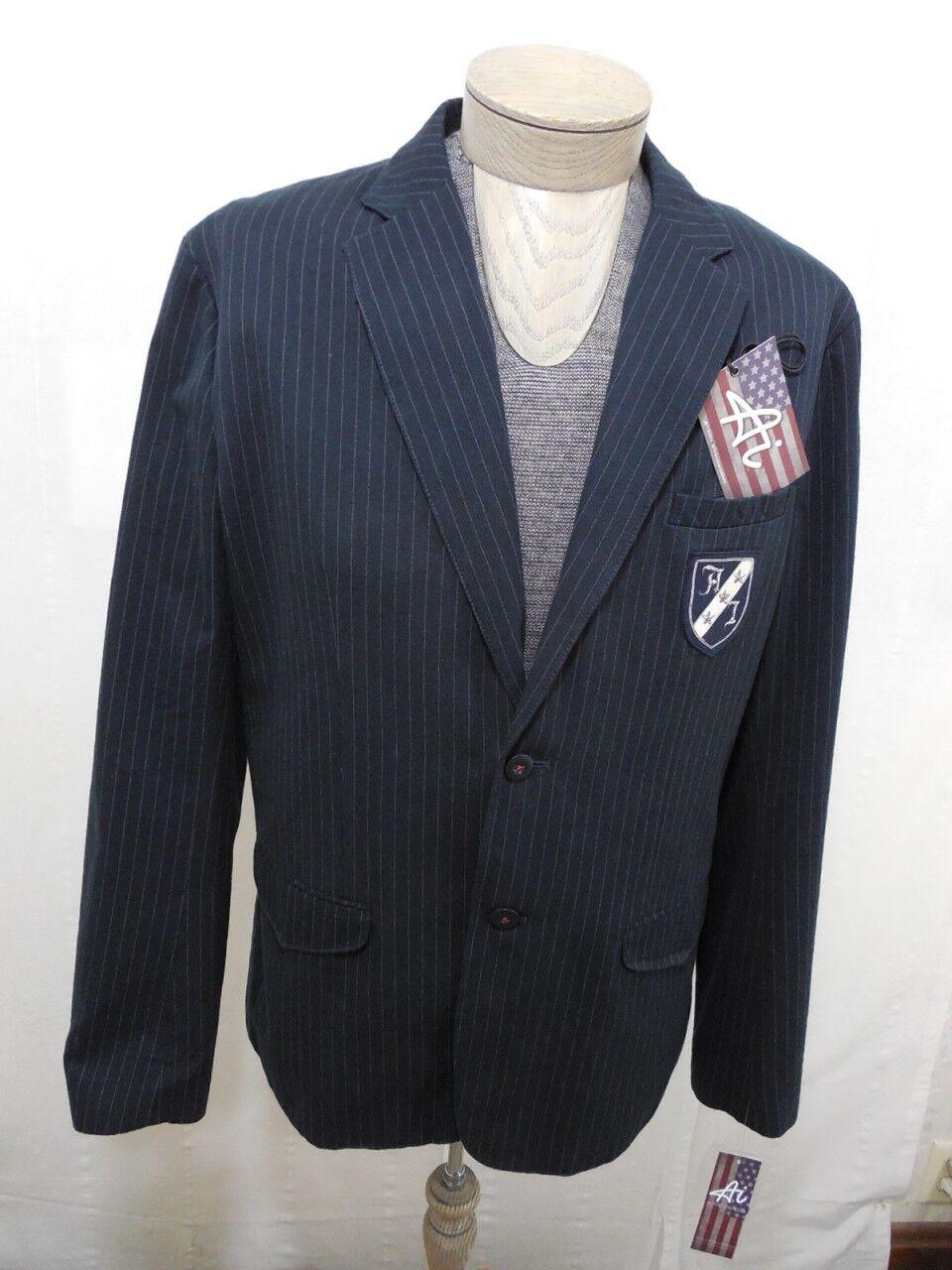 Authentic Icon American Idol Men's 100% Cotton Coat Blazer Navy Pinstripe M