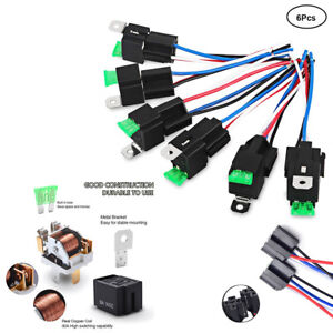 Car-Relay-Switch-Harness-Waterproof-6x-4Pin-12V-14AWG-Wires-30AMP-Fuse-Holder