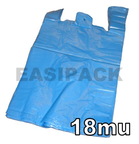 """2000 Strong BLUE recycled 11x17x21/"""" vest carrier bags 18mu"""